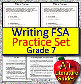 7th Grade FSA Writing Practice Set Passages w Informative + Argumentative  Prompt