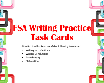 FSA Writing Task Cards:  Introductions and Conclusions (Elaboration, too!)