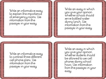 F.S.A. Writing Prompt Task Cards