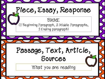 FSA Common Core Writing Vocabulary Cards - Apple set