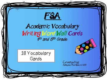FSA Common Core Writing Vocabulary Cards - Star set