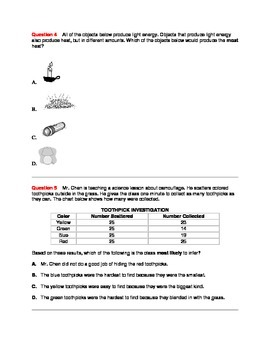 FSA and Common Core Aligned Science Practice Assessment - 3rd Grade