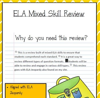 ELA (FSA) review Test (aligned with jeopardy)