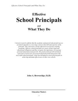 EFFECTIVE SCHOOL PRINCIPALS and What They Do