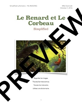 FSL Reading Comprehension Activity - Simplified Corbeau et Renard