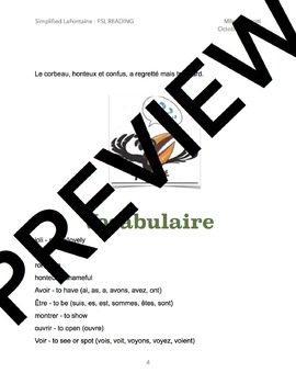 FSL Reading Comprehension Activity - Simplified Corbeau et Renard