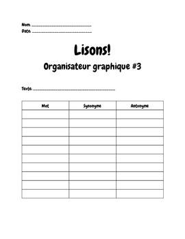 FSL Reading Graphic Organizer