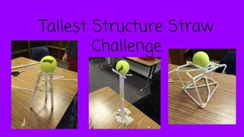 FSL STEM Challenge Card for A2-B1 Learners: Tallest Structure Straw Challenge