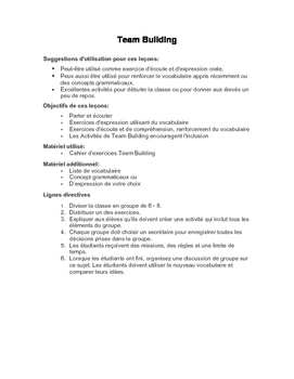 FSL Speaking Activities: Team Building Exercices d'Écoute et d'Expression Orale
