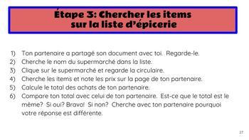 FSL authentic task (tâche authentique):  Au supermarché