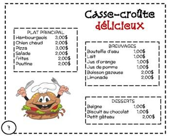 FSL authentic tasks/tâches authentiques:  au casse-croûte (restaurant)