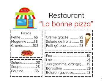 FSL authentic tasks/tâches authentiques:  à la pizzeria