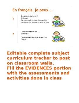 FSL immersion gr.6 (2013) curriculum tracker