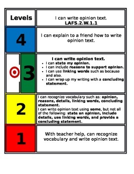 FSS Marzano Scale Writing Standards - 2nd grade