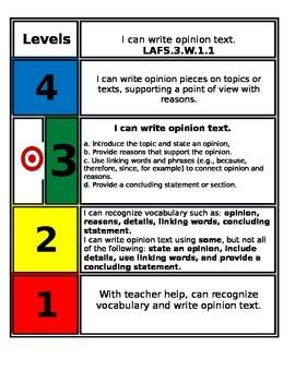 FSS Marzano Scale Writing Standards 3rd Grade 1.1-1.3