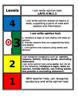 FSS Marzano Writing Scales 4th grade 1.1-1.3