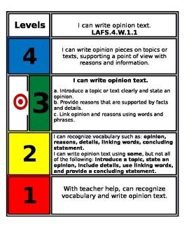 FSS Marzano Writing Scales 4th grade 1.1-1.3