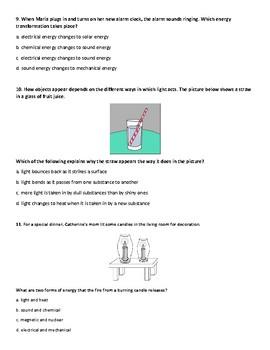 FSSA ALIGNED Big Idea 10: Forms of Energy Benchmark Assessment
