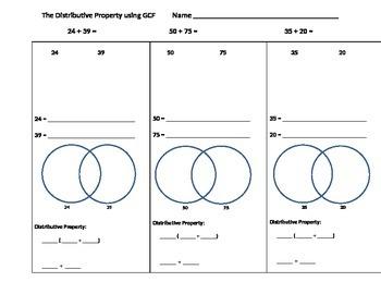 The Distributive Property using GCF