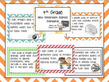 "FULL 4th Grade Next Generation Science Posters (Common Core Align) ""I Can..."""