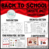 FULL Back to School Unit {August} for Special Education/Pre-K/ Autism