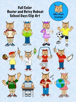 FULL COLOR Buster and Betsy Bobcat Mascot School Days Clip Art