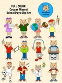 FULL COLOR Cougar Mascot School Days Clip Art