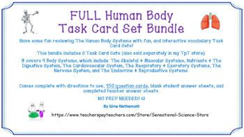 FULL Human Body Task Card Vocabulary Set Bundle NO PREP & FULLY EDITABLE