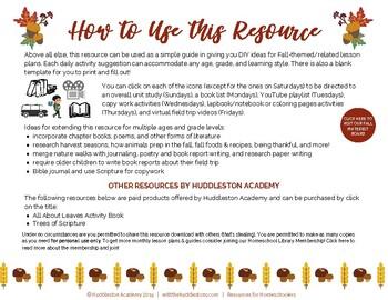 FULL November Lesson Plans & Guide