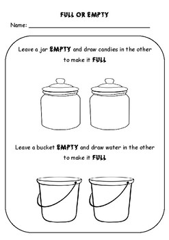 FULL OR EMPTY - MATH WORKSHEET