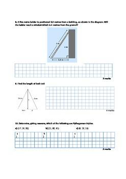 FULL Pythagoras' Theorem Written Test