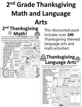 FULL SET Thanksgiving Activities 2nd Grade Math & Language Thanksgiving 2nd