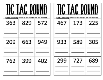 FULL SET Tic Tac Toe Rounding Math Intervention Small Group Cards Game