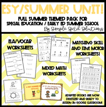 FULL Summer Unit for Special Education, Autism, ESY, Pre-K/Kindergarten