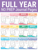 FULL YEAR NO PREP Journal Pages (Early Childhood)