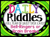 BACK TO SCHOOL BRAIN TEASERS - FULL YEAR Pack of Daily RIDDLE CARDS