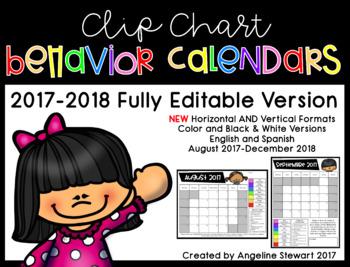 FULLY EDITABLE 2017-2018 Clip Chart Behavior Calendars in English and Spanish
