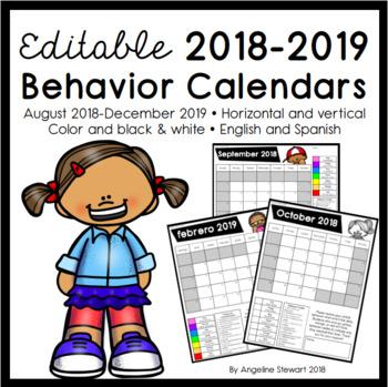 FULLY EDITABLE 2018-2019 Clip Chart Behavior Calendars in English and Spanish