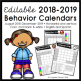 FULLY EDITABLE 2018-2019 Clip Chart Behavior Calendars in English and Spanish