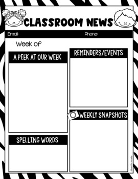 FULLY EDITABLE Classroom Newsletter Template