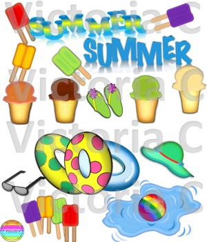 FUN AND COLORFUL SUMMER TIME CLIP ART