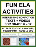 NON-FICTION READING RESPONSE: 6 Fun Reading Comprehension Activities & QR codes!