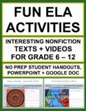 NON-FICTION READING RESPONSE: 6 Fun Reading Comprehension Activities & QR codes!