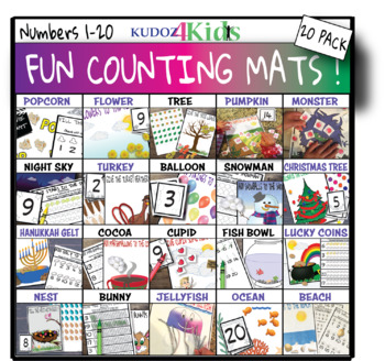 FUN COUNTING MATS 20 pack BUNDLE ❤️ count 1-20!