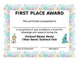 FUN Colorful Editable Science Fair Certificate
