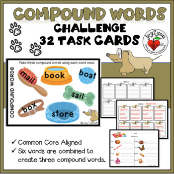 FUN! Compound Words Dog Theme Task Card Challenge Literacy Center