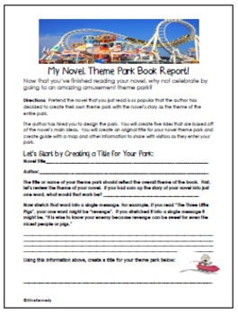 """Theme Park"" Book Report For Any Novel, Step-by-step Directions!"
