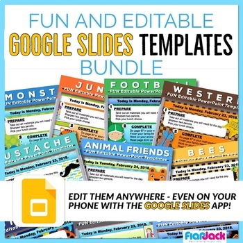 FUN Editable Morning Work GOOGLE SLIDES Templates Bundle