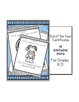 FUN Editable PDF End of Year Certificates K-5 Printable