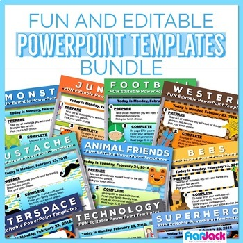 fun editable powerpoint templates bundle by flapjack educational
